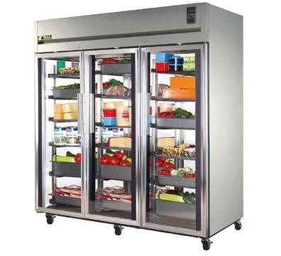 "True STA3R-3G 77-3/4"" Reach-In Refrigerator - 3-Section, 3-Glass Full Doors, Stainless 115v"