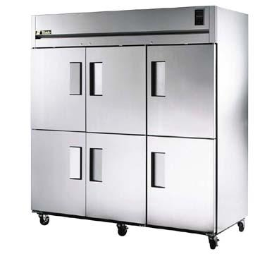 "True STA3R-6HS 78"" Reach-In Refrigerator - 6-Solid Half Door, LED, Stainless Exterior"