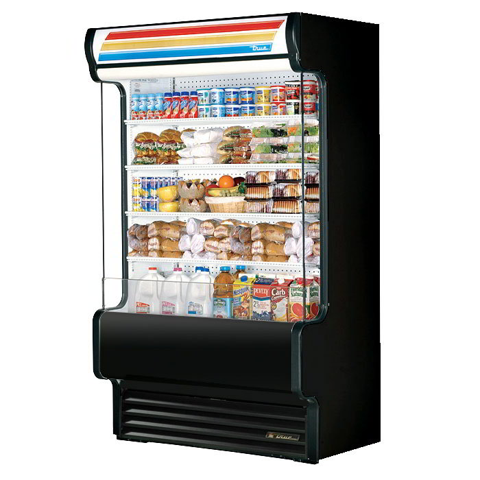"True TAC-48GS BLK 48"" Vertical Air-Curtain Merchandiser - 4-Shelves, Black 208-230v"