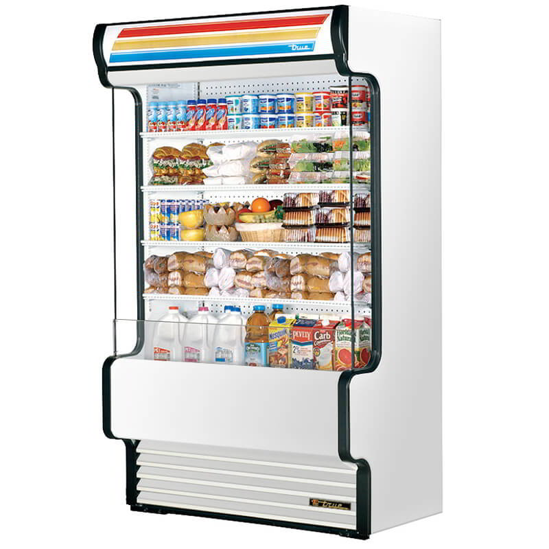 "True TAC-48GSSS 48"" Vertical Air-Curtain Merchandiser - 4-Shelves, Stainless 208-230v"
