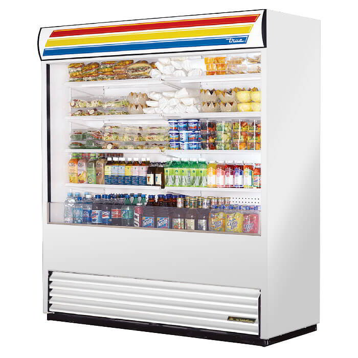 "True TAC-72SS 72"" Vertical Air-Curtain Merchandiser - 8-Shelves, Stainless 208-230v"