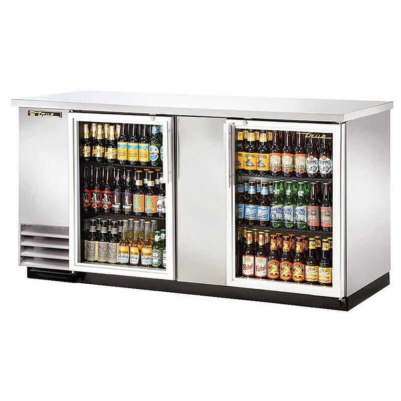 TRUE Refrigeration TBB-3G-S 70 in Back Bar Cooler SS 2 Section/Glass Doors Holds (161) 6-packs Restaurant Supply