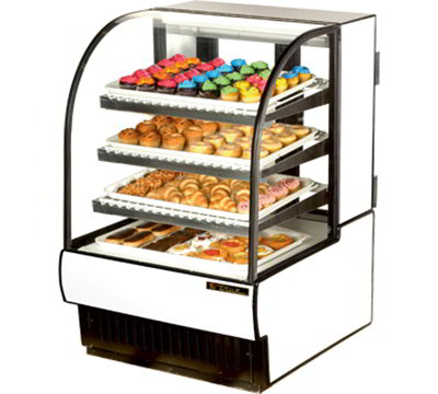 """True TCGD-31 31.88"""" Full Service Dry Bakery Case w/ Curved Glass - (4) Levels, 115v"""