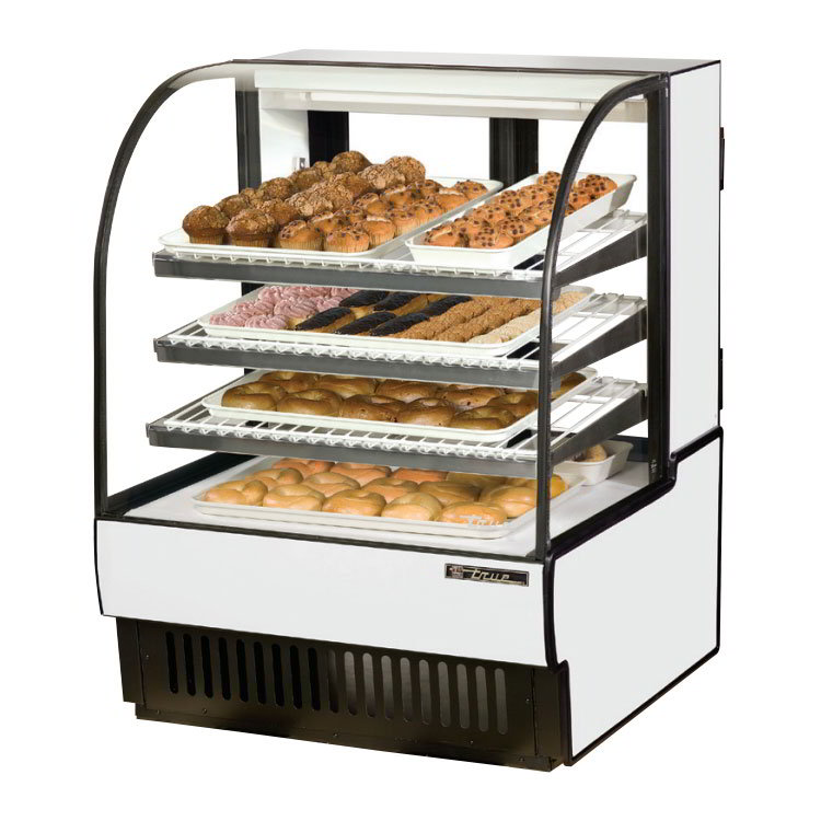 "True TCGD-36 BLK 37"" Curved-Glass Bakery Case - 3-Adjustable Shelves, Black 115v"