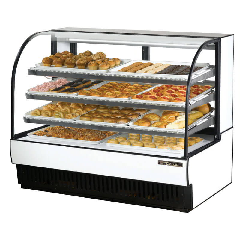 "True TCGD-59 BLK 60"" Curved-Glass Bakery Case - Wire-Shelves, Black 115v"