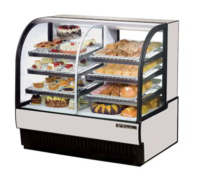 "True TCGDZ-50 BLK 51"" Curved-Glass Refrigerated Bakery Case - 6-Adjustable Shelves, Black 115v"