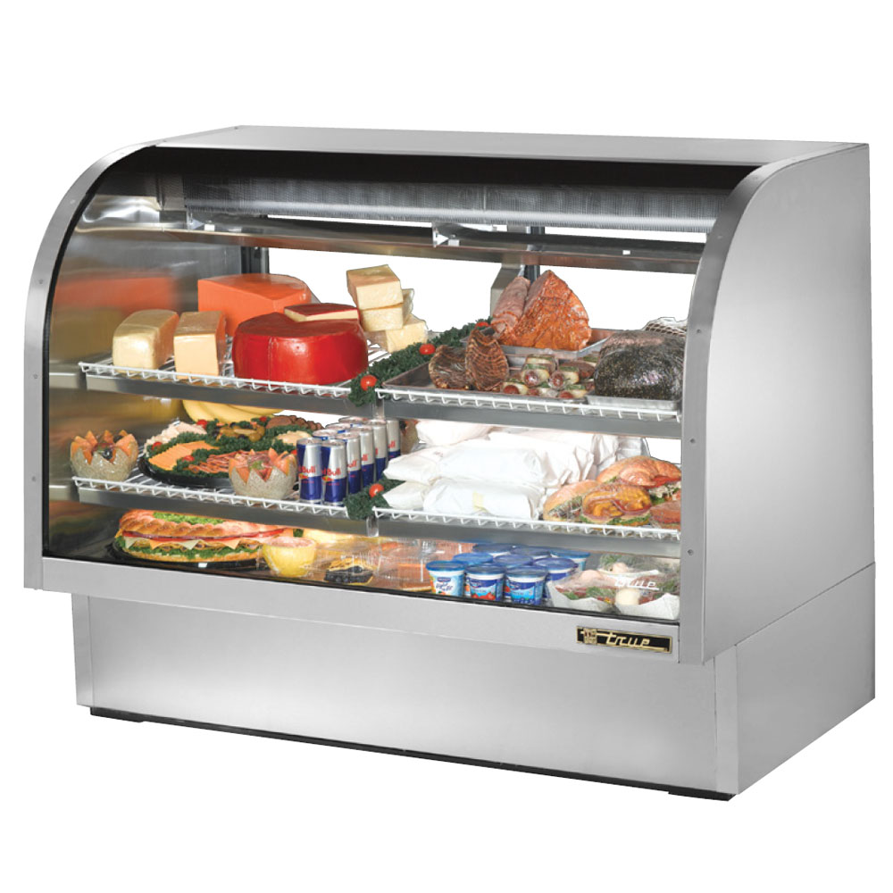 """True TCGG-60-S 60.25"""" Full Service Refrigerated Deli Case w/ Curved Glass - (3) Levels, 115v"""