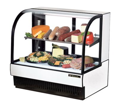 """True TCGR-50-CD 50.88"""" Full Service Refrigerated Deli Case w/ Curved Glass - (2) Levels, 115v"""