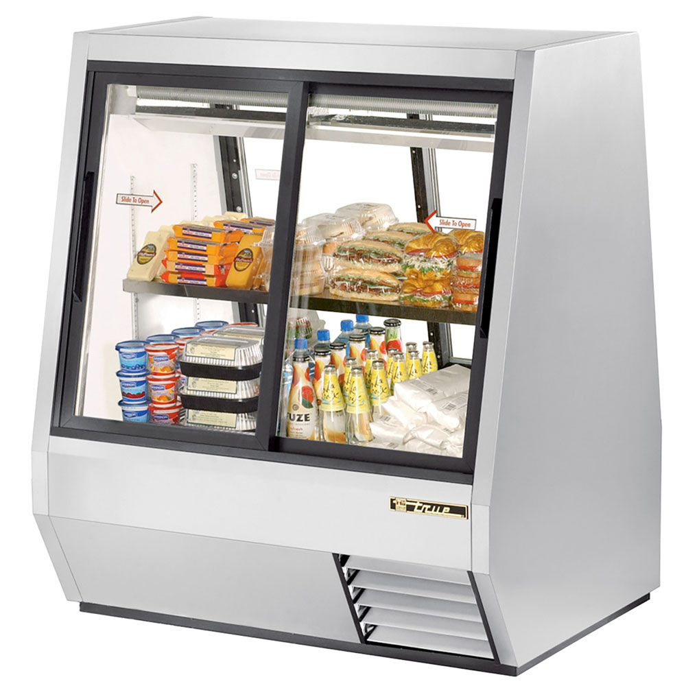 "True TDBD-48-4 48.13"" Self Service Refrigerated Deli Case w/ Straight Glass - (2) Levels, 115v"
