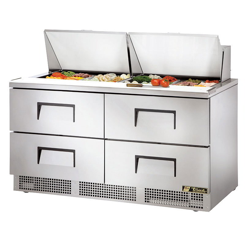 True TFP-64-24M-D4 Refrigerated Sandwich Unit - (4) Wells, (4) Drawers, 1/3HP Compressor, 120v
