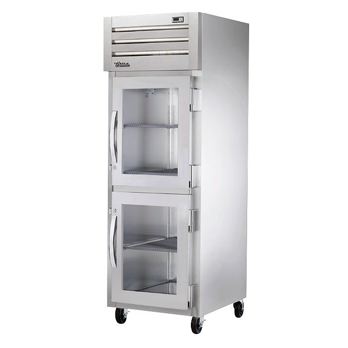 "True STG1H-2HG 28"" Roll-In Freezer - 2-Glass Half Doors, Stainless/Aluminum"