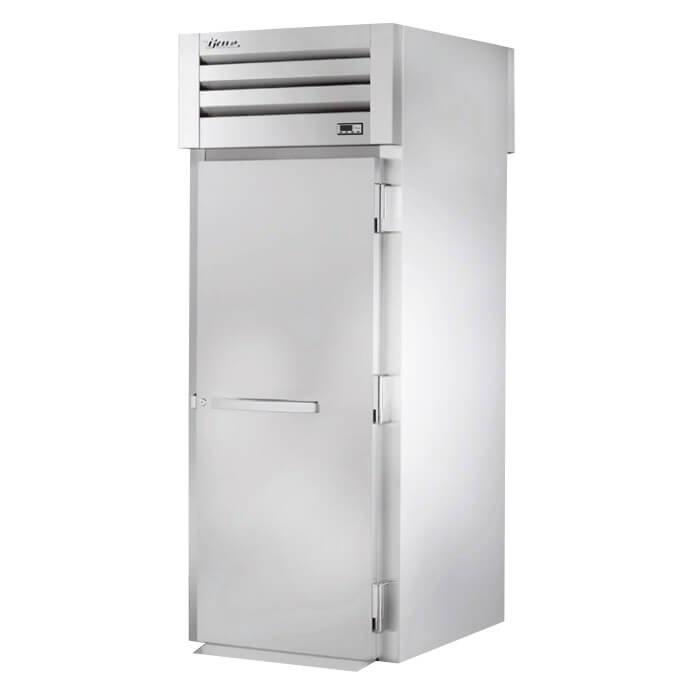 "True STG1HRT89-1S-1S 35"" Roll-Thru Heated Cabinet - 2-Solid Doors, 89""H, Stainless/Aluminum"
