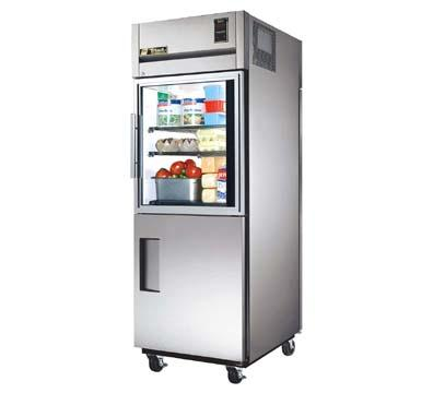 True TG1RPT-1HG/1HS-1S Refrig, Pass-Thru, 1 Sec, Half Glass/SS Front, SS Rear Doors, 31 cu ft