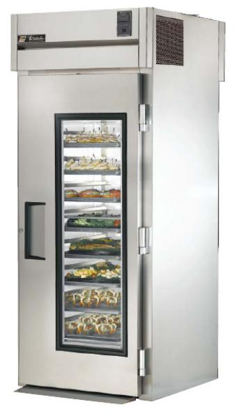 "True STG1RRT-1G-1S 35"" Roll-Thru Refrigerator - 1-Glass/1-Solid Door, Stainless/Aluminum"
