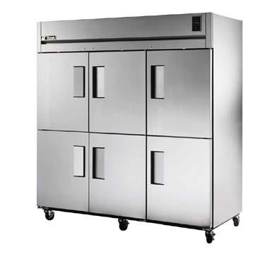 True TG3F-6HS Freezer, Reach-In, 3 Section, 6 SS Half Doors, 9 Shel