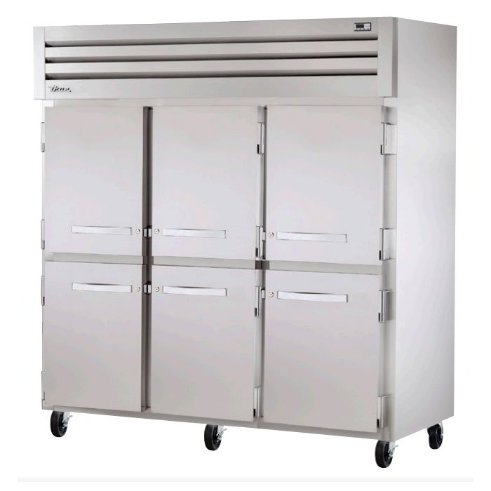 "True STG3R-6HS 78"" Reach-In Refrigerator - 6-Solid Half Door, Stainless/Aluminum"