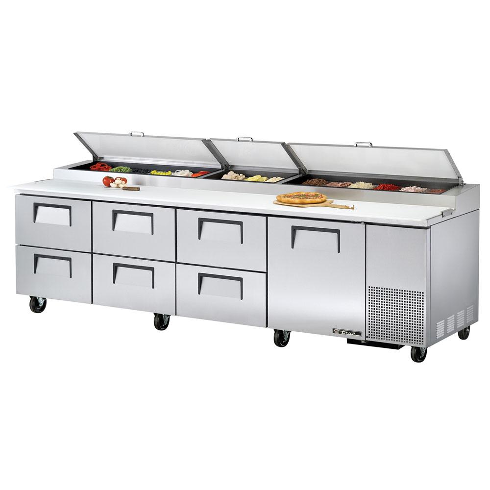 "True TPP-119D-6 119.25"" Pizza Prep Table w/ Refrigerated Base, 115v"