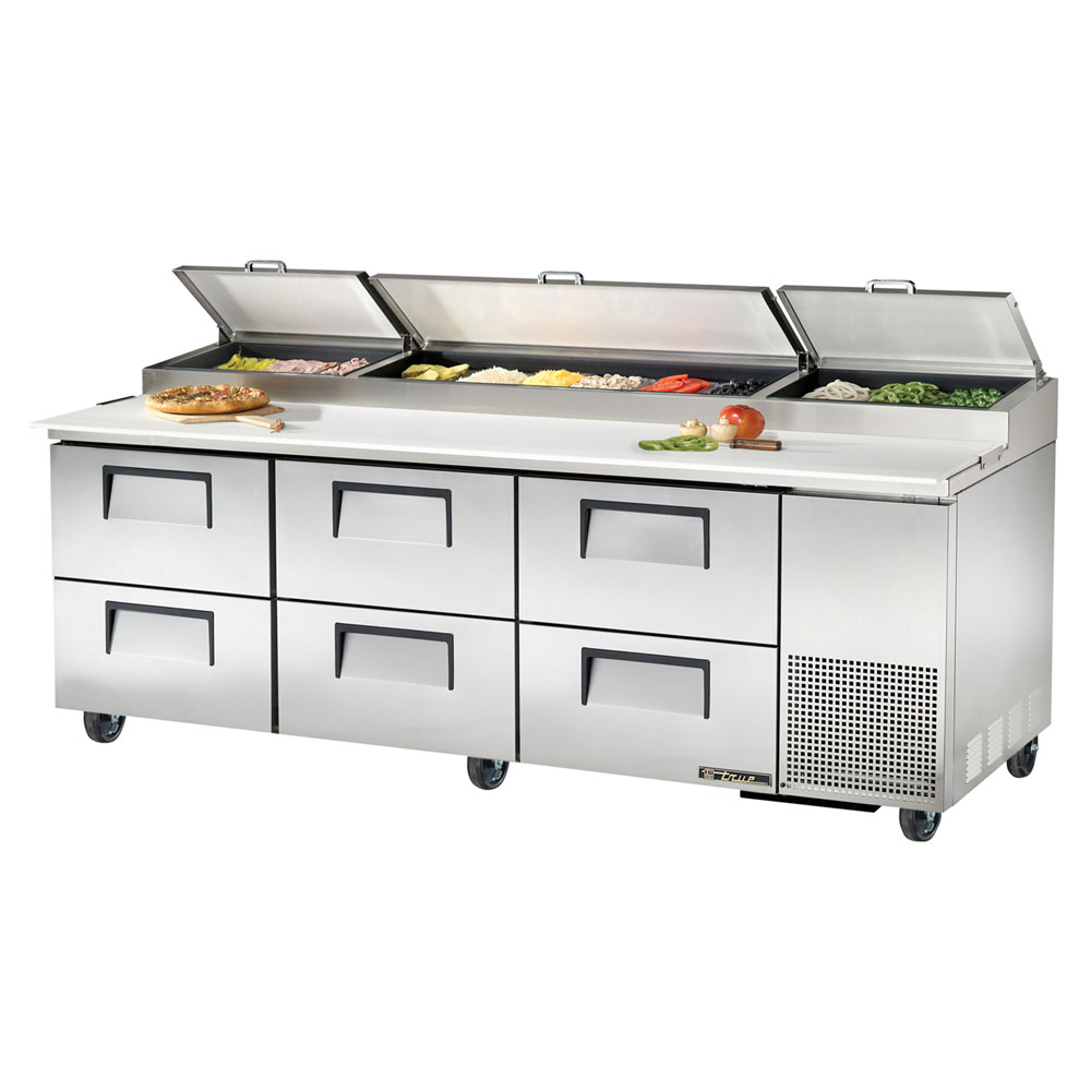 "True TPP-93D-6 93.25"" Pizza Prep Table w/ Refrigerated Base, 115v"