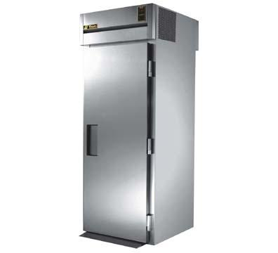 "True STR1RRT89-1S-1S 35"" Roll-Thru Refrigerator - 2-Solid Doors, 89""H, All Stainless"