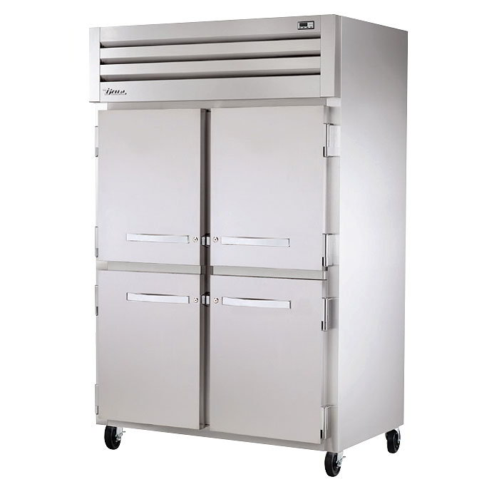 "True STR2H-4HS 53"" Reach-In Heated Cabinet - 4-Solid Half Doors, All Stainless"