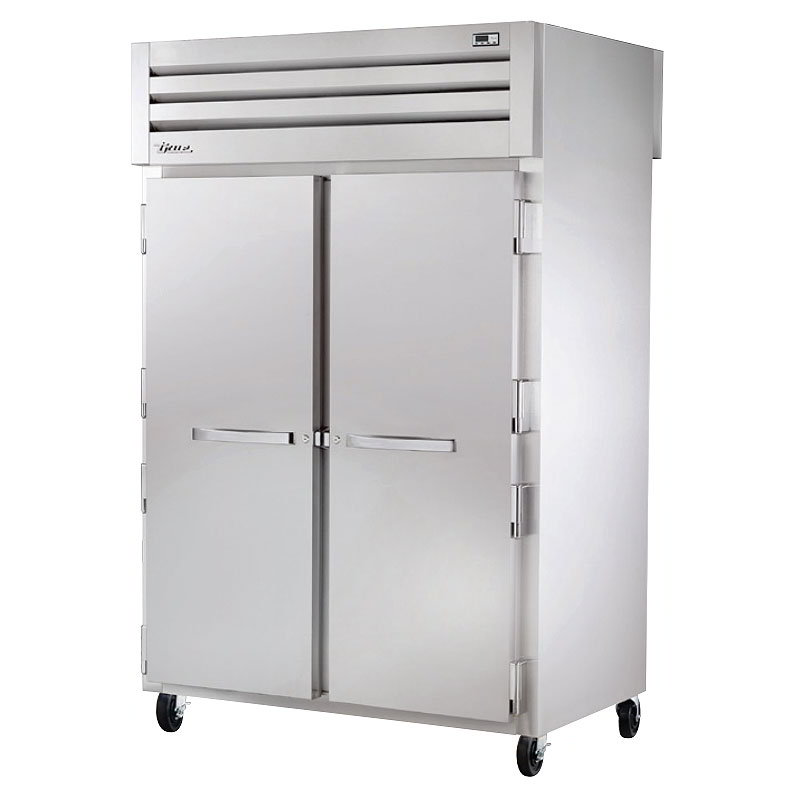 "True STR2HPT-2S-2S 53"" Pass-Thru Heated Cabinet - 4-Solid Doors, All Stainless"