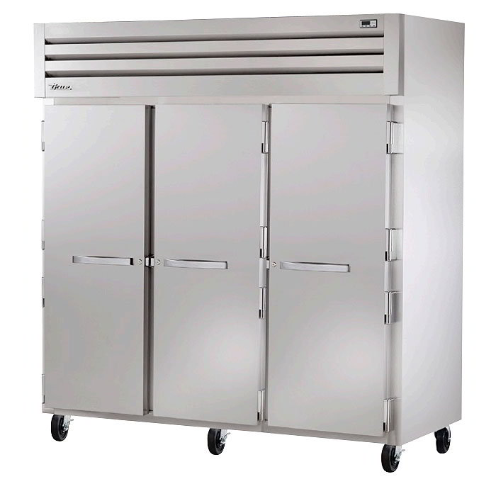 "True STR3R-3S 78"" Reach-In Refrigerator - 3-Solid Door, LED, All Stainless"