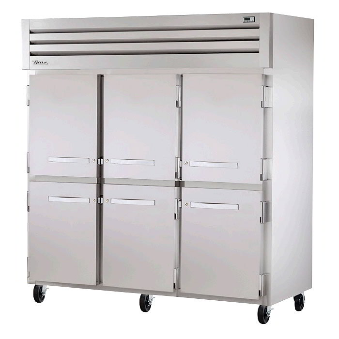 "True STR3R-6HS 78"" Reach-In Refrigerator - 6-Solid Half Door, LED, All Stainless"