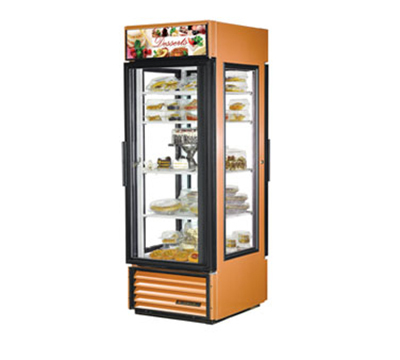"True G4SM-23PT 28"" Pass-Thru Merchandiser - 2-Door, 4-Shelf, 23 cu ft, Copper"