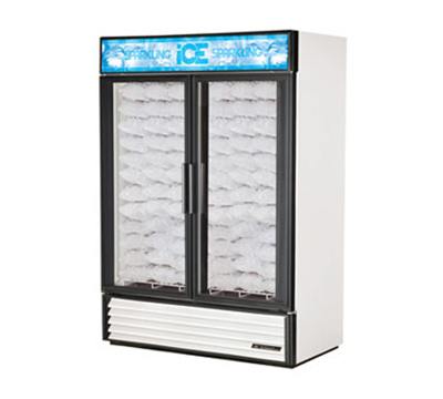 "True GDIM-49NT 54"" Ice Merchandiser - 2-Door, Holds (117) 8-lb Bags, No Tank, White"