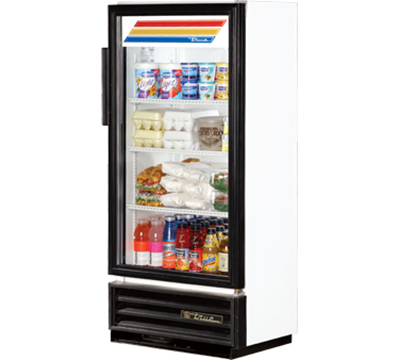 "True GDM-10SSL-LD 25"" Super Slim Line Refrigerated Merchandiser - 1-Door, 3-Shelf, LED, Black"