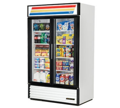 "True GDM-43-LD 48"" Refrigerated Merchandiser - 2-Door, 8-Shelf, 43 cu ft, LED, Black"