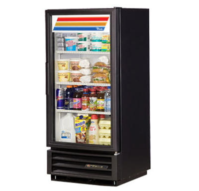 "True GDM-10-LD 25"" Refrigerated Merchandiser - 1-Door, 3-Shelf, LED, 10 cu ft, White"
