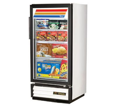"True GDM-10F-LD 25"" Freezer Merchandiser - 1-Door, 3-Shelf, LED, 10 cu ft, White"