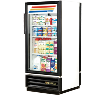"True GDM-10PT-LD 25"" Pass-Thru Refrigerated Merchandiser - 2-Door, 3-Shelf, LED, 10 cu ft, White"