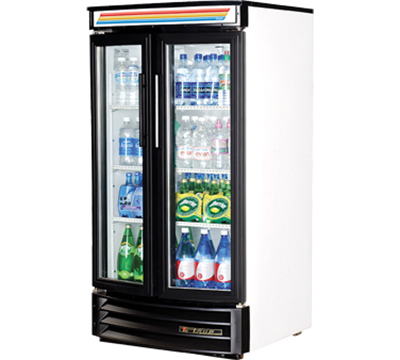 "True GDM-14RF-LD 30.5"" Radius Front Merchandiser - 2-Door, 3-Shelf, LED, 14 cu ft, White"