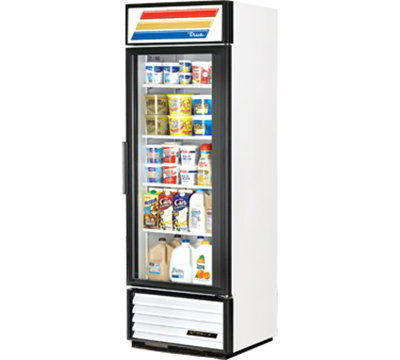 "True GDM-19T-LD 27"" Refrigerated Merchandiser - 1-Door, 4-Shelf, 19 cu ft, LED, White"