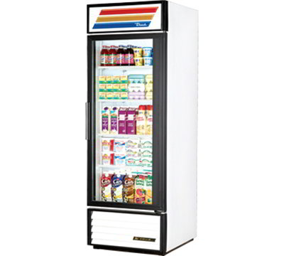 "True GDM-23-LD 27"" Refrigerated Merchandiser - 1-Door, 4-Shelf, 23 cu ft, LED, White"