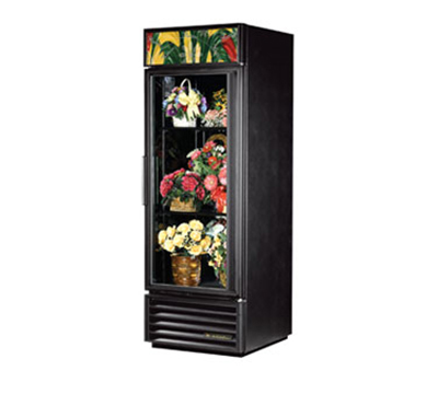 "True GDM-23FC-LD 27"" Floral Merchandiser - 1-Door, 2-Shelf, LED, 23 cu ft, Black"