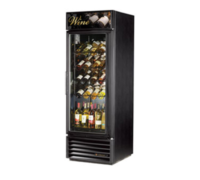 "True GDM-23W-LD 27"" Wine Merchandiser - 1-Door, 4-Racks, 1-Shelf, LED, 23 cu ft, White"