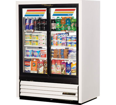 "True GDM-33CPT-54-LD 39.5"" Pass-Thru Convenience Store Cooler - 4-Door, 3-Shelf, 54"" H, LED, White"