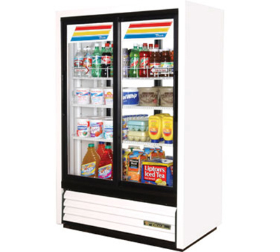 "True GDM-33CPT-LD 39.5"" Pass-Thru Convenience Store Cooler - 4-Door, 3-Shelf, 33 cu ft, White"