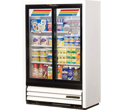 "True GDM-33SSL-54-LD 36"" Super Slim Line Display Cooler - 2-Door, 3-Shelf, 54"""
