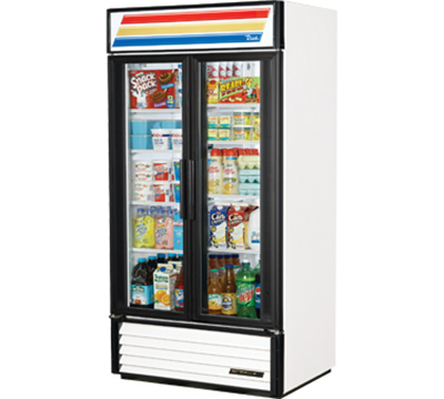 "True GDM-35-LD 39.5"" Refrigerated Merchandiser - 2-Door, 8-Shelf, LED, 35 cu ft, White"
