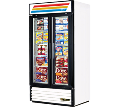 "True GDM-35F-LD 39.5"" Freezer Merchandiser - 2-Door, 8-Shelf, LED, 35 cu ft, White"
