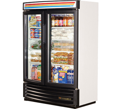 "True GDM-35SL-RF-LD 40"" Slim Line Radius Front Merchandiser - 2-Door, 4-Shelf, 35 cu ft, White"