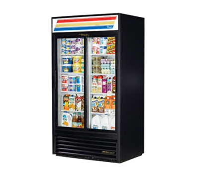 "True GDM-37-LD 43.5"" Refrigerated Merchandiser - 2-Door, 8-Shelf, LED, 37 cu ft, White"