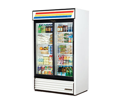 "True GDM-41-LD 48"" Refrigerated Merchandiser - 2-Door, 8-Shelf, LED, 41 cu ft, White"