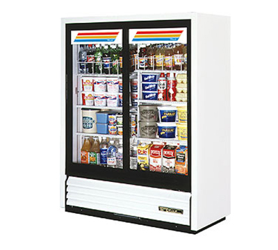 "True GDM-41SL-60-LD 47.13"" Two-Section Refrigerated Display w/ Sliding Doors, Bottom Mount Compressor, 115v"