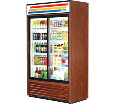 "True GDM-41SL-LD 48"" Slim Line Refrigerated Merchandiser - 2-Door, 8-Shelf, LED, 41 cu ft, White"