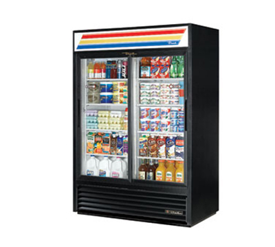 "True GDM-47-LD 52"" Refrigerated Merchandiser - 2-Door, 8-Shelf, LED, 47 cu ft, White"